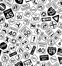 Seamless pattern of cartoon road signs in the vector