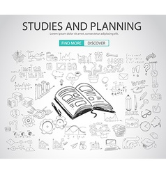 Studies and planning concept with doodle design vector