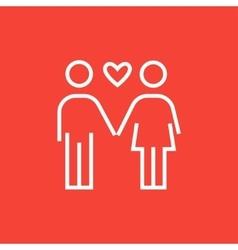 Couple in love line icon vector