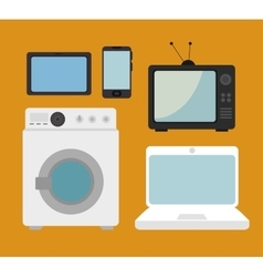 Set electronic devices isolated icon design vector