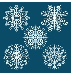 Graphic winter set of snowflakes vector