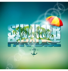 Summer holiday with sunshade vector
