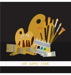 Art supplies and tools pack oil painting vector