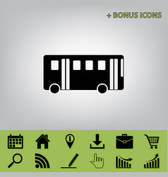 Bus simple sign black icon at gray vector