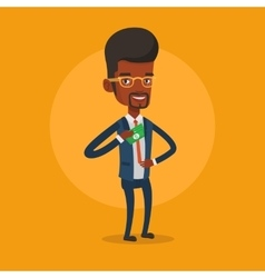 Businessman putting money bribe in pocket vector