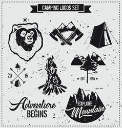 Camping logo set vector