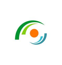 Circle dot focus eye logo vector