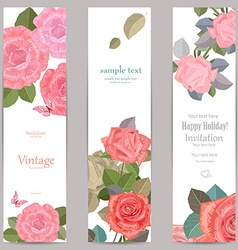 collection vertical banners with roses for your vector image vector image
