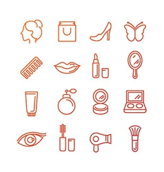 cosmetics and beauty icons vector image vector image