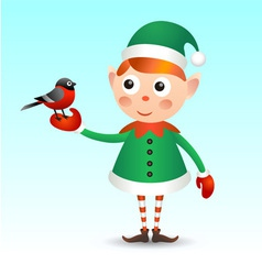 Elf with bullfinch vector image vector image