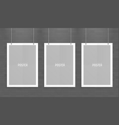 Empty three white a4 sized paper mockup hanging vector