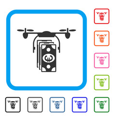 euro banknotes drone framed icon vector image vector image
