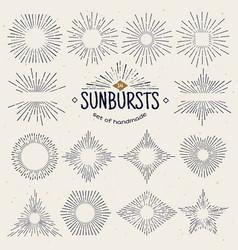 geometric hand drawn sunburst sun beams in vector image