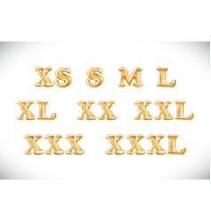 gold alphabet balloons clothes size range set s m vector image