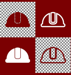 Hardhat sign bordo and white icons and vector