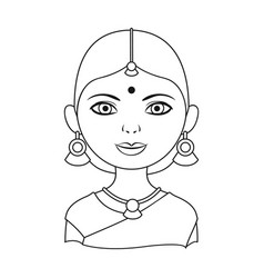 hindu womanhuman race single icon in outline vector image vector image