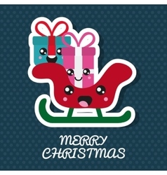 Kawaii gift and sled merry christmas design vector