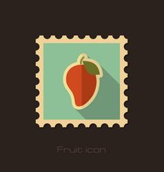 Mango flat stamp tropical fruit vector