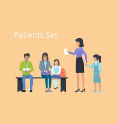 patient set of icons on orange vector image