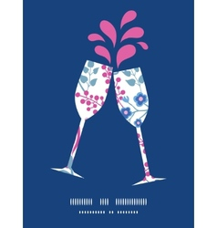 Pink flowers toasting wine glasses vector