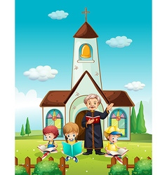 Priest and children at church vector