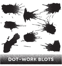 Set of black ink dotwork blots vector image