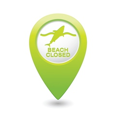 shark icon green map pointer vector image vector image