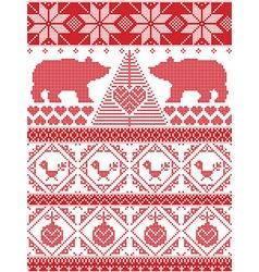 Tall xmas pattern with xmas tree polar bears vector image vector image