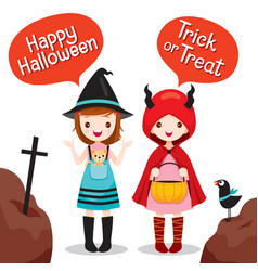 two girls wearing halloween costume vector image