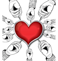 valentine heart drawing vector image vector image