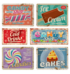 vintage candy shop metal signs with rusty texture vector image