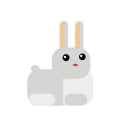 white rabbit in flat style vector image vector image