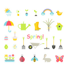 spring icons set vector image