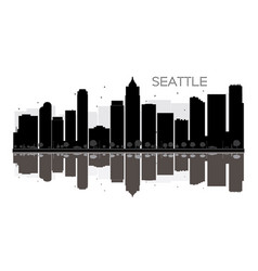 seattle city skyline black and white silhouette vector image