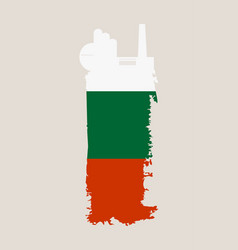 Factory icon and grunge brush bulgaria flag vector