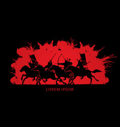 Group of samurai warriors riding horses vector