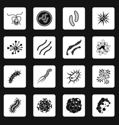 Virus bacteria icons set squares vector