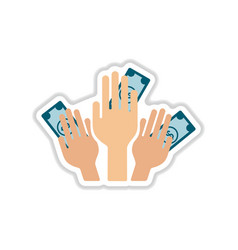 Paper sticker on white background money in hands vector