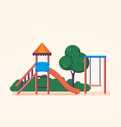 Playground entertainment in form of swings park vector