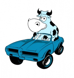 Cow driving a car mascot vector