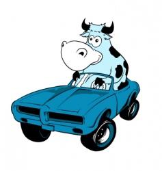 cow driving a car mascot vector image