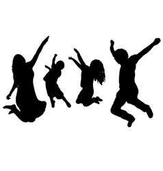 jumping family vector image