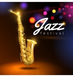 Saxophone on black background vector