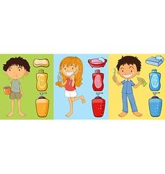 Boys and girl brushing teeth vector image