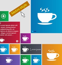 The tea and cup icon sign buttons modern interface vector
