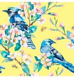 Blue jay on a flowering branch spring vector