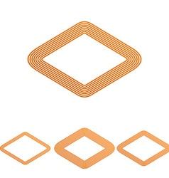 Orange line rhombus logo design set vector