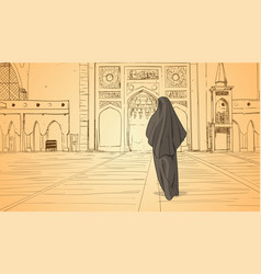 Arab woman coming to mosque building muslim vector