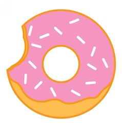 Bitten glazed ring doughnut with sprinkles vector