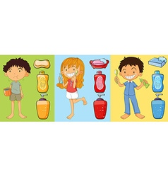 Boys and girl brushing teeth vector